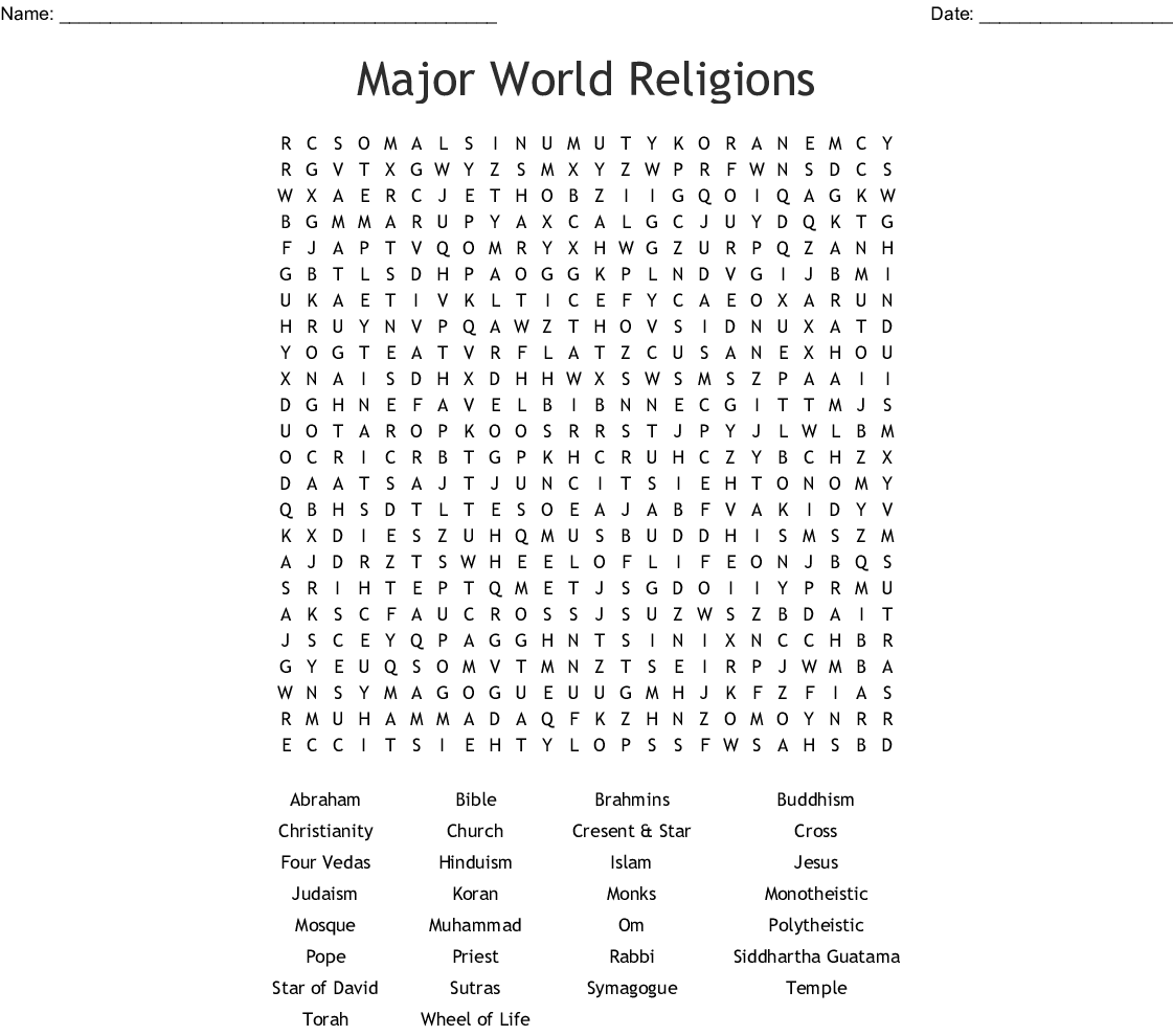 Major World Religions Word Search