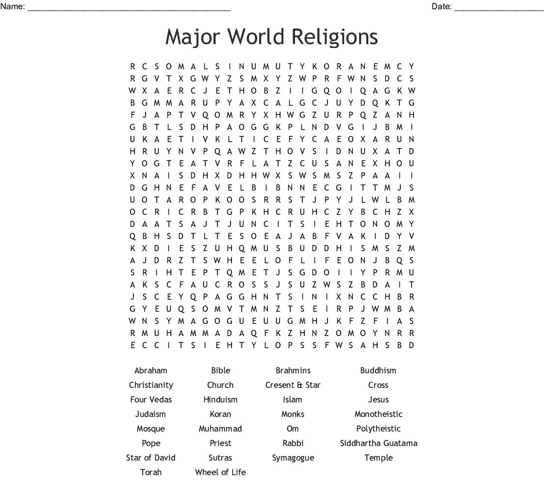 World Religions Worksheet Answers Key