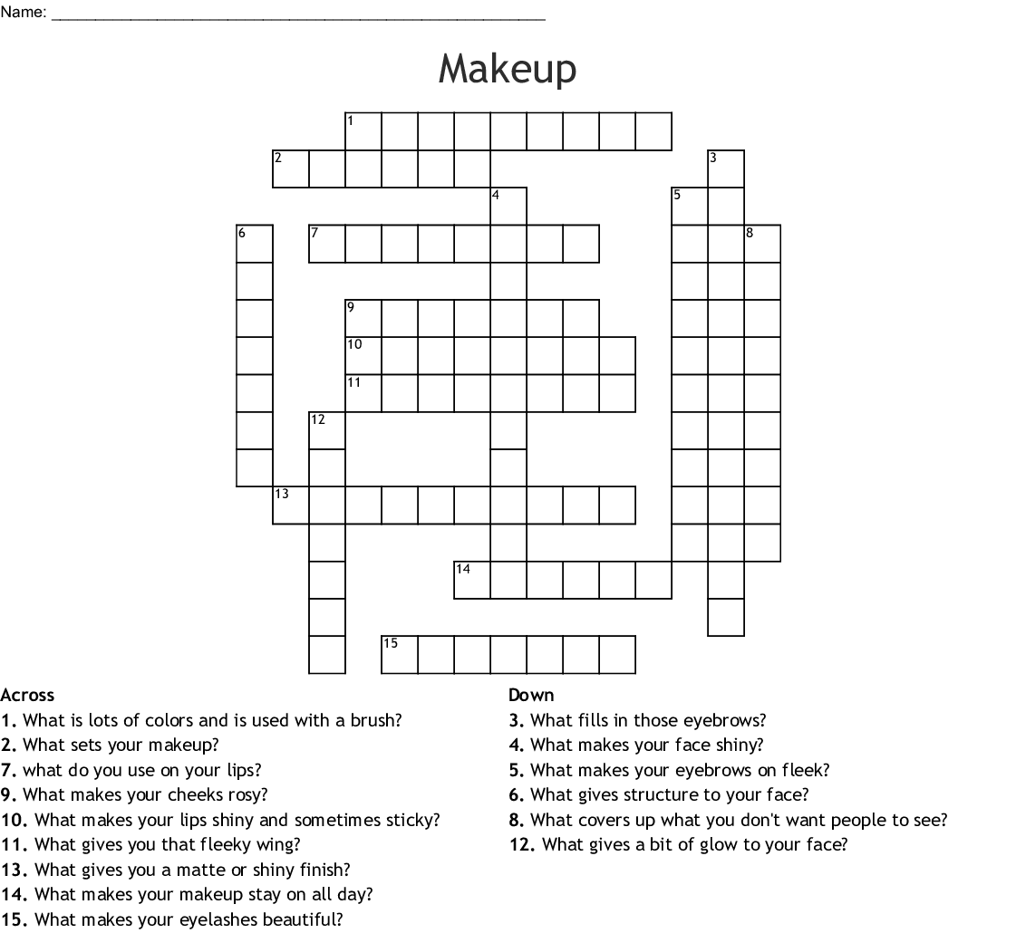 Stage Makeup Worksheet Printable