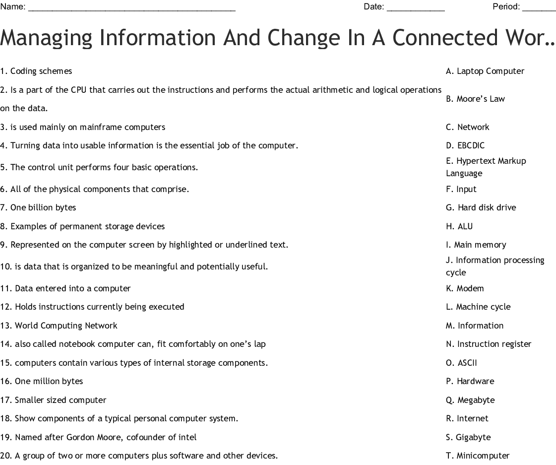 Managing Information And Change In A Connected World Word