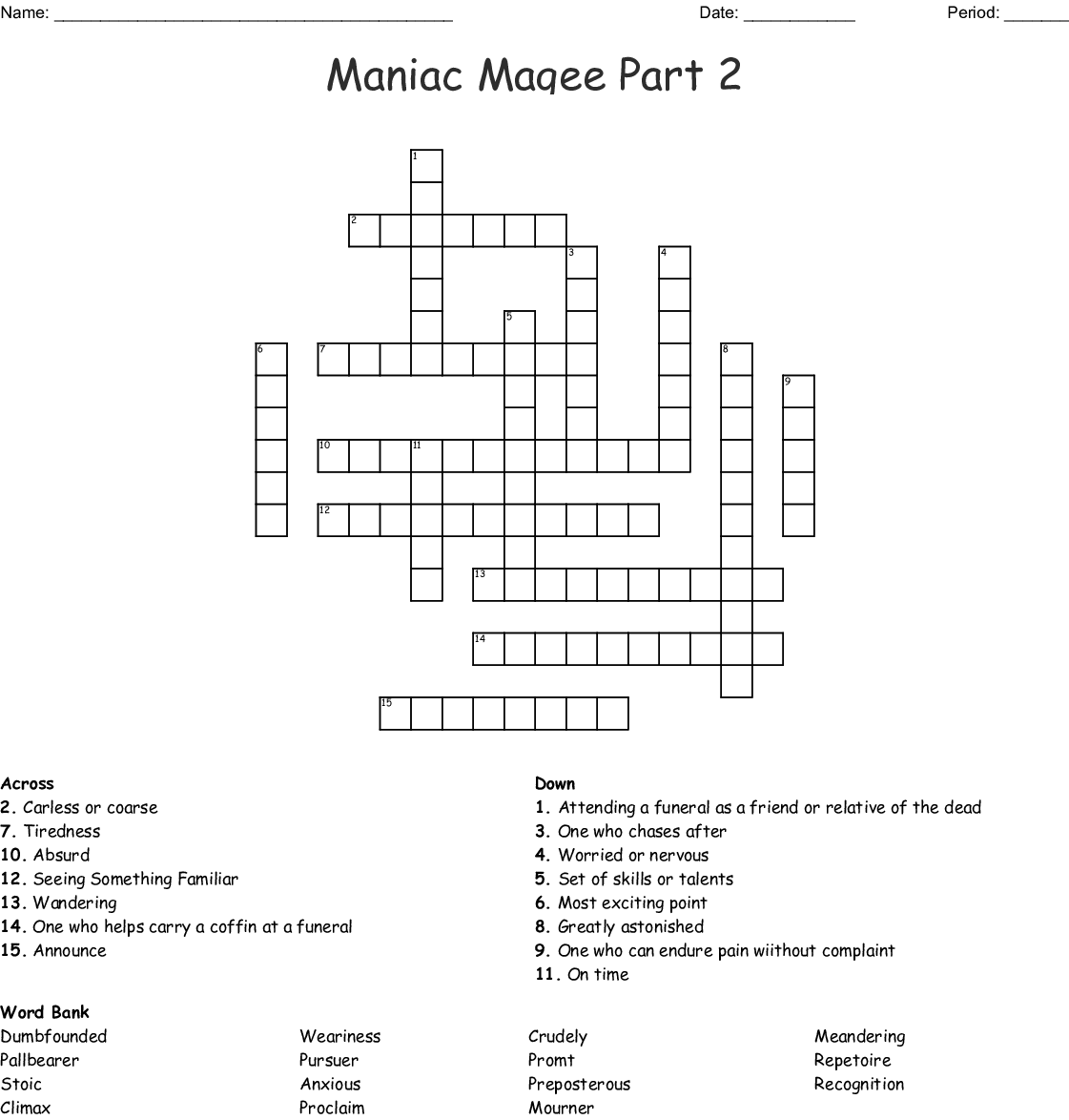 Maniac Magee Crossword
