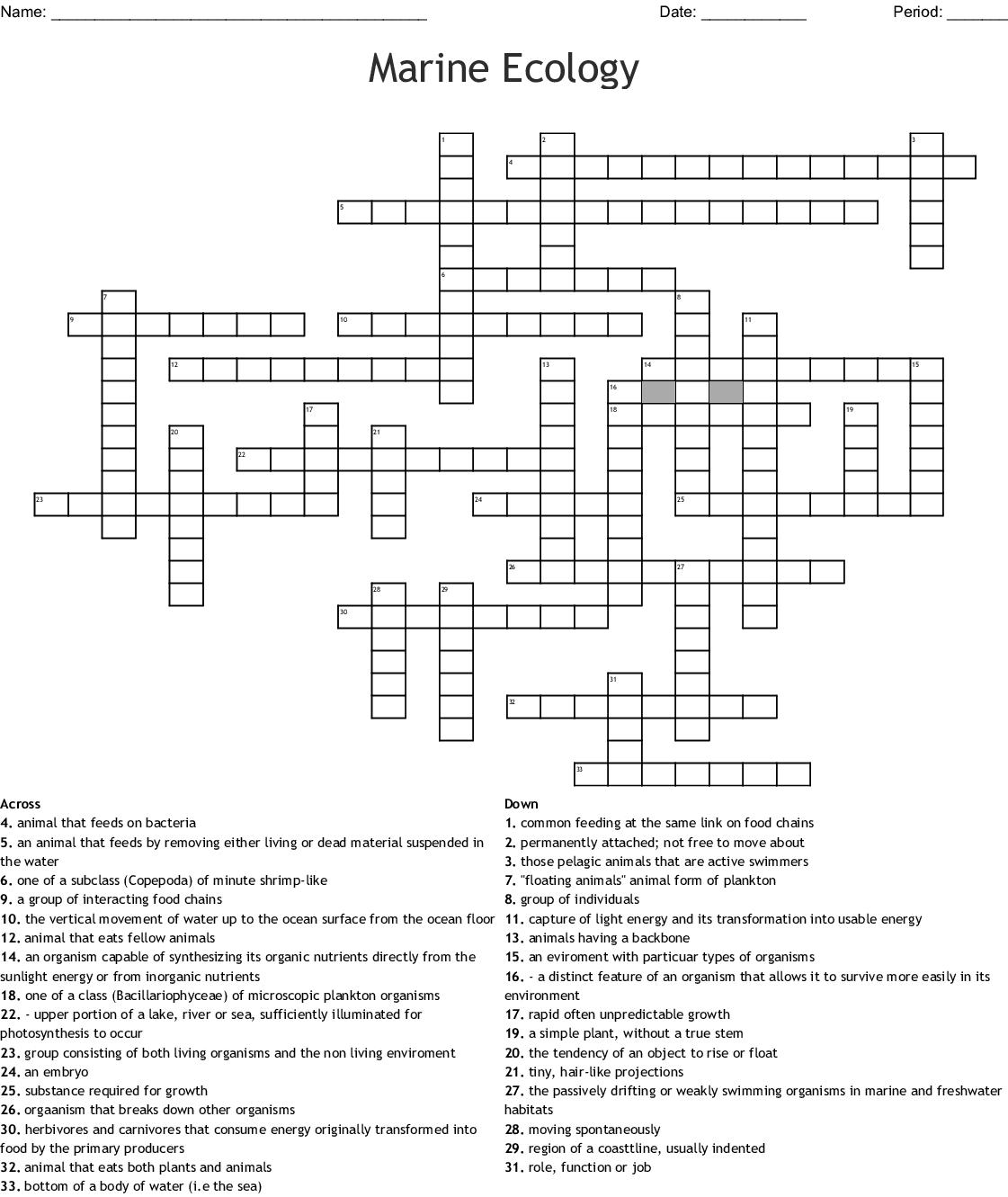 Marine Ecology Crossword