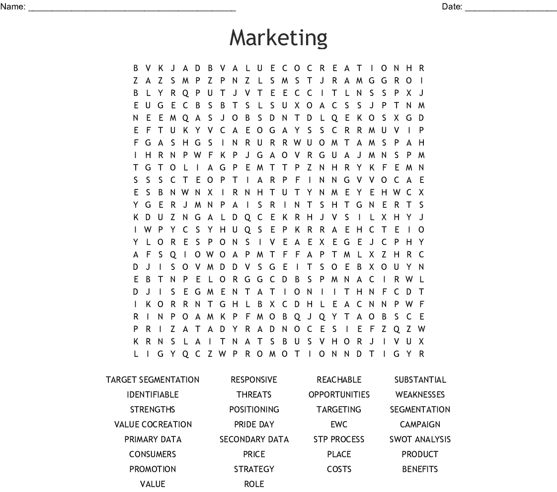 Marketing Word Search