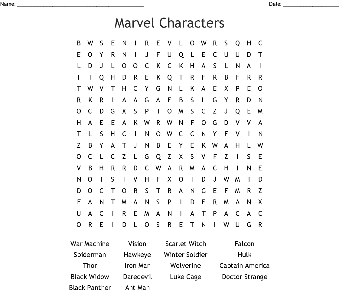 Marvel Crossword Puzzle