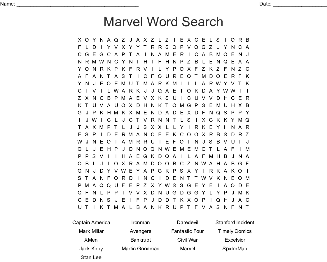 Marvel Word Search