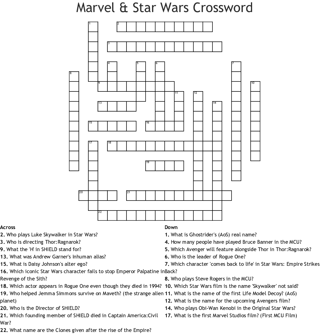Marvel Amp Star Wars Crossword