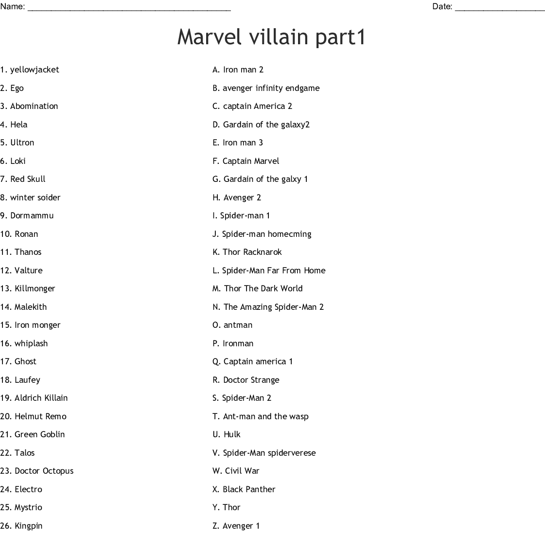 Marvel Villain Part1 Worksheet