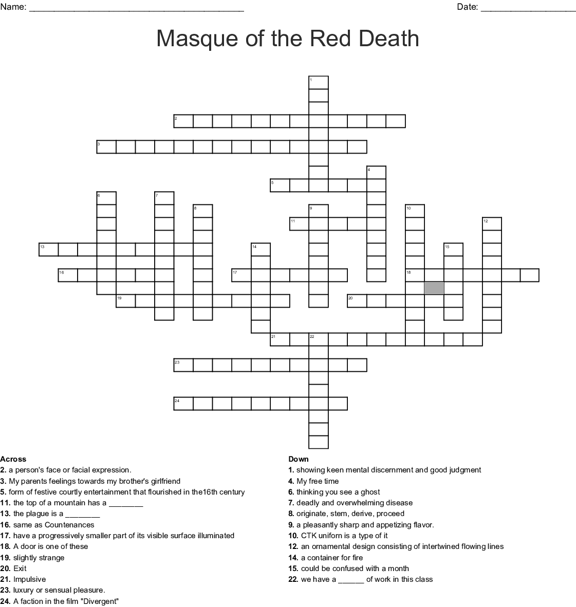 Masque Of The Red Crossword