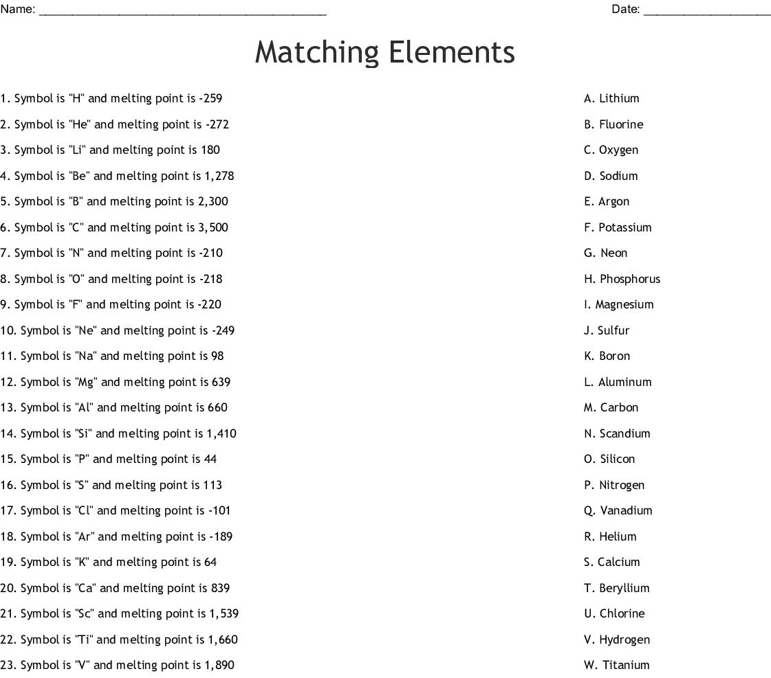 Matching Elements Worksheet