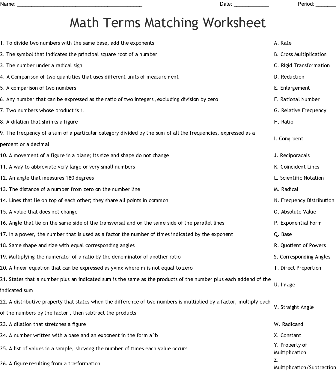 Math Terms Matching Worksheet