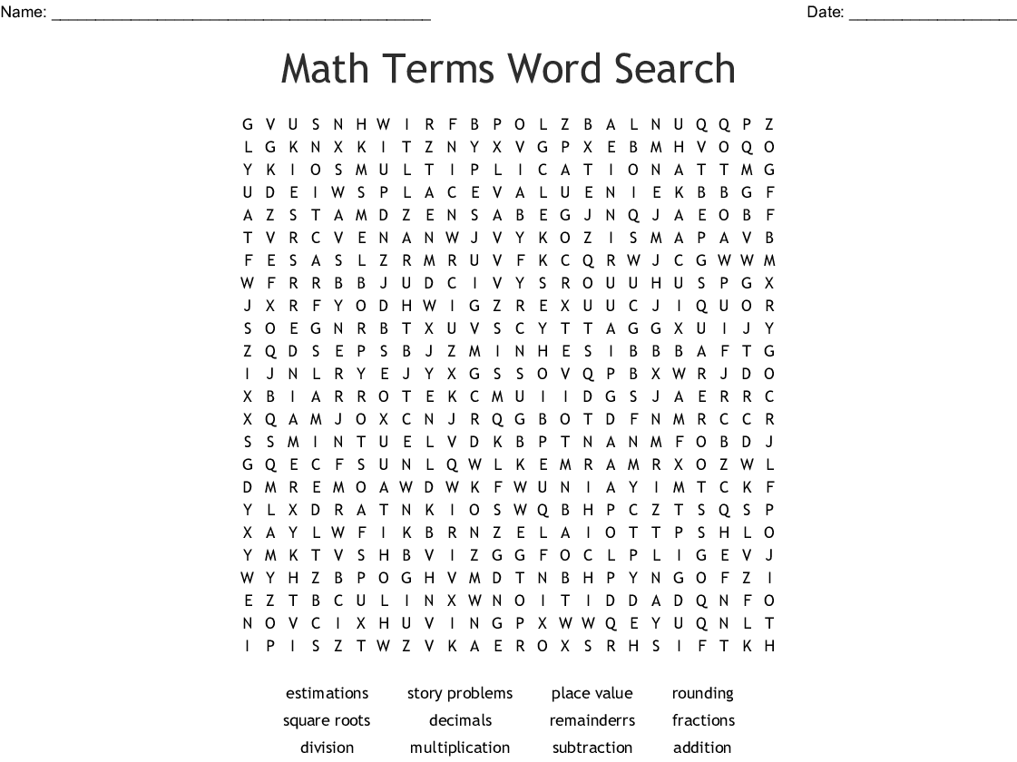 Maths Word Search