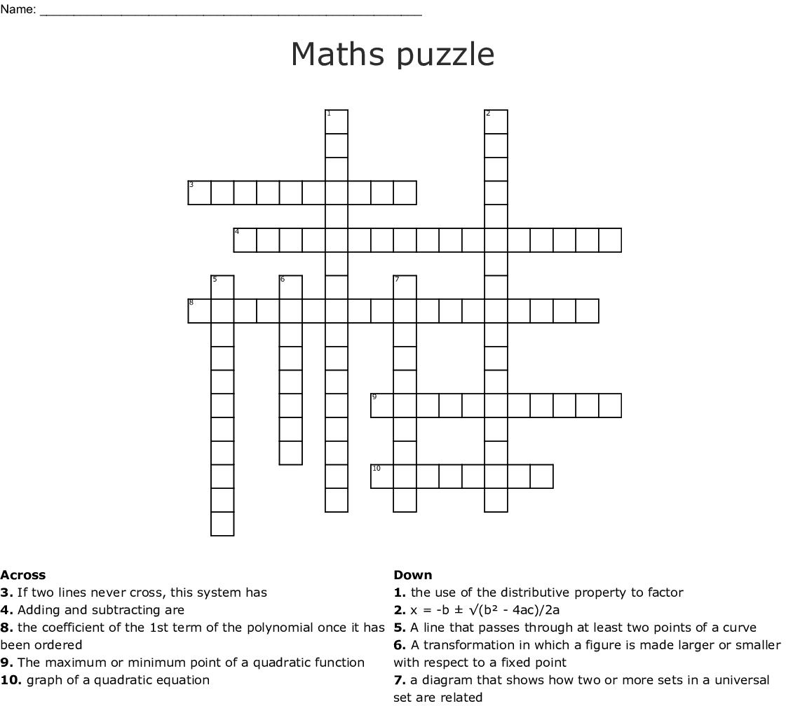 Maths Puzzle Crossword