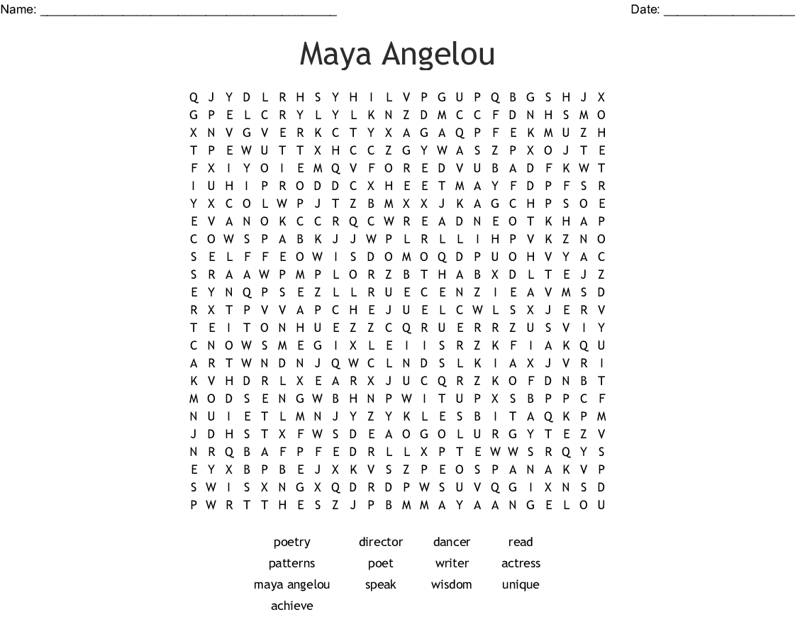 Maya Angelou Word Search