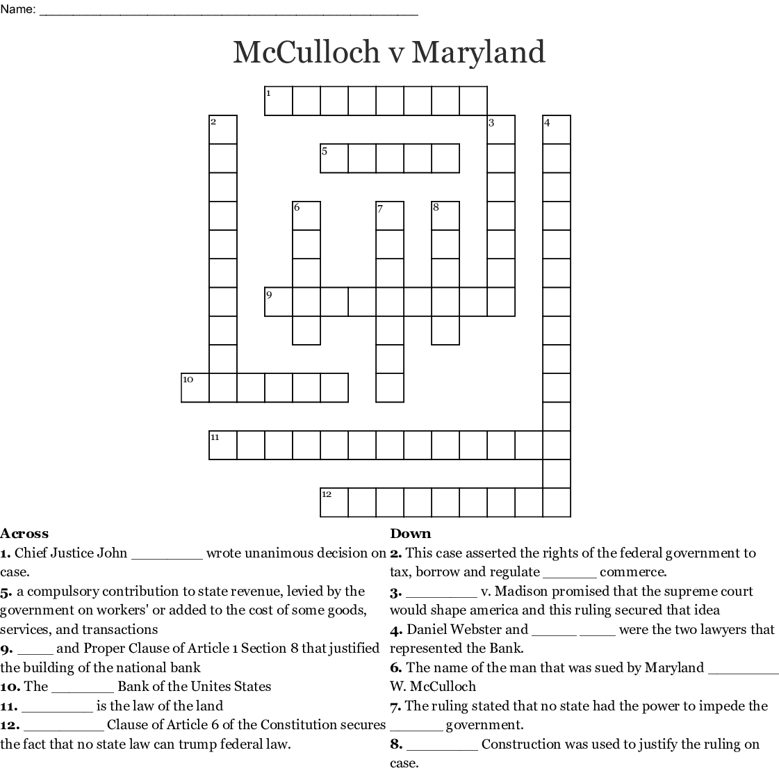 Printables Of Mcculloch V Maryland Worksheet