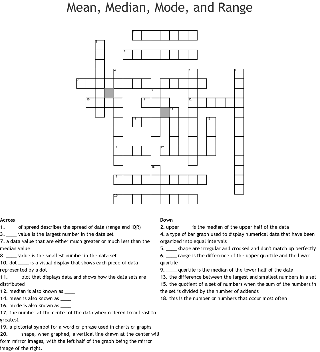 Measures Of Center Word Search