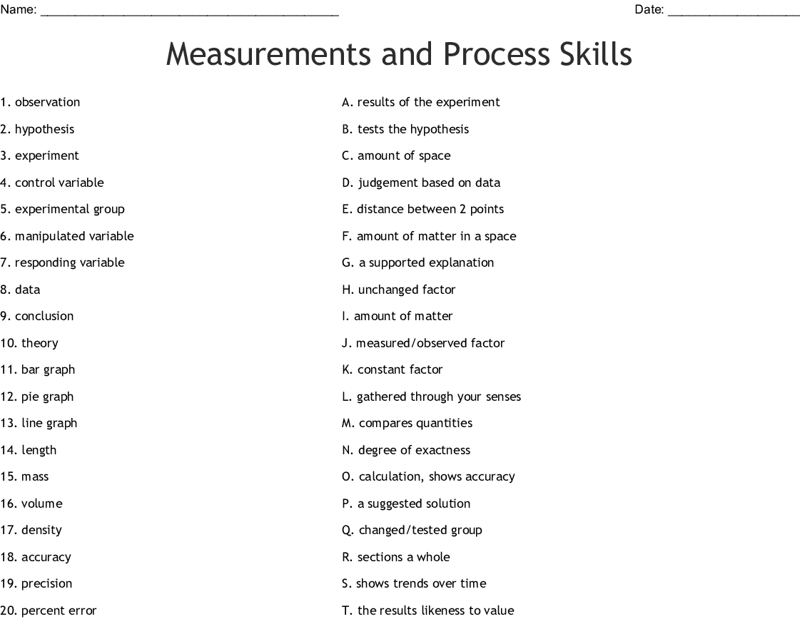 Measurements And Process Skills Worksheet
