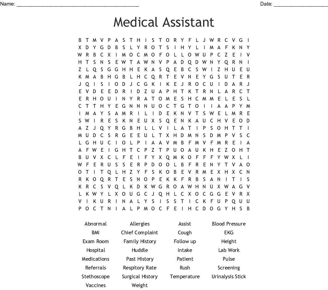 Medical Assistant Word Search