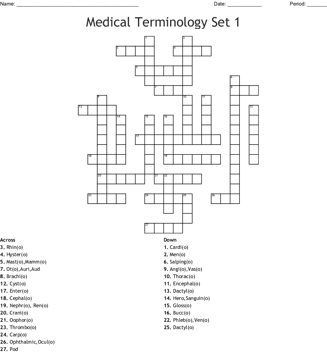 Medical Terminology Set 1 Crossword