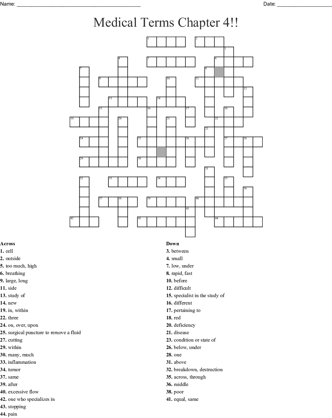 Medical terminology crossword puzzle answers health center 21
