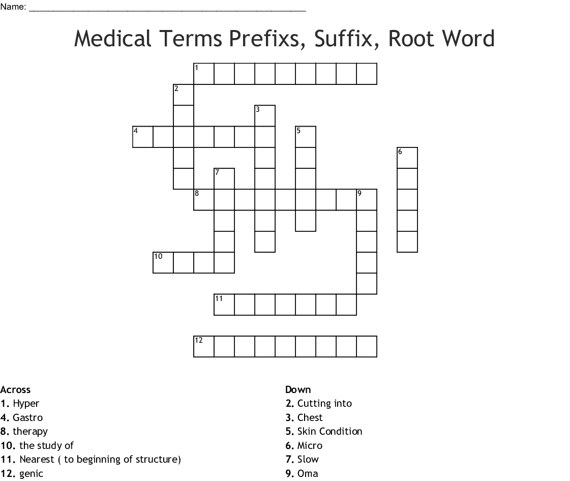 Medical Terms Prefixs Suffix Root Word Crossword