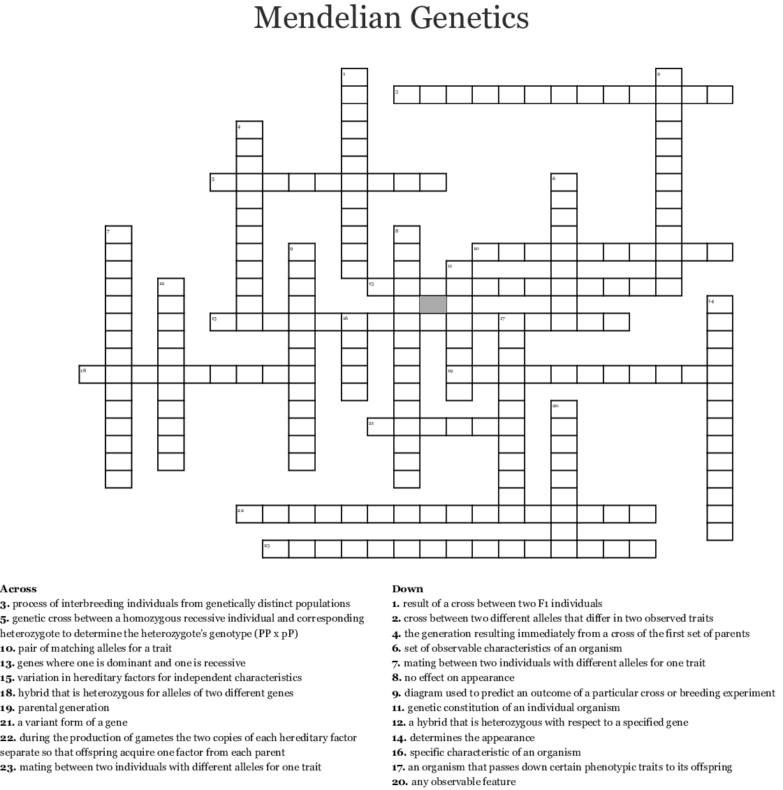 Genetics Word Search