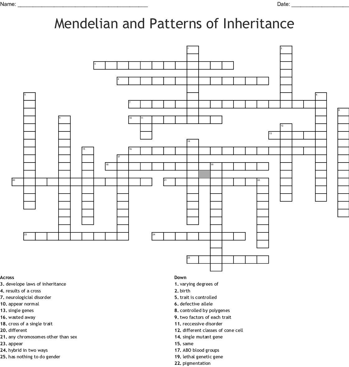 Genetic Disorder Crossword