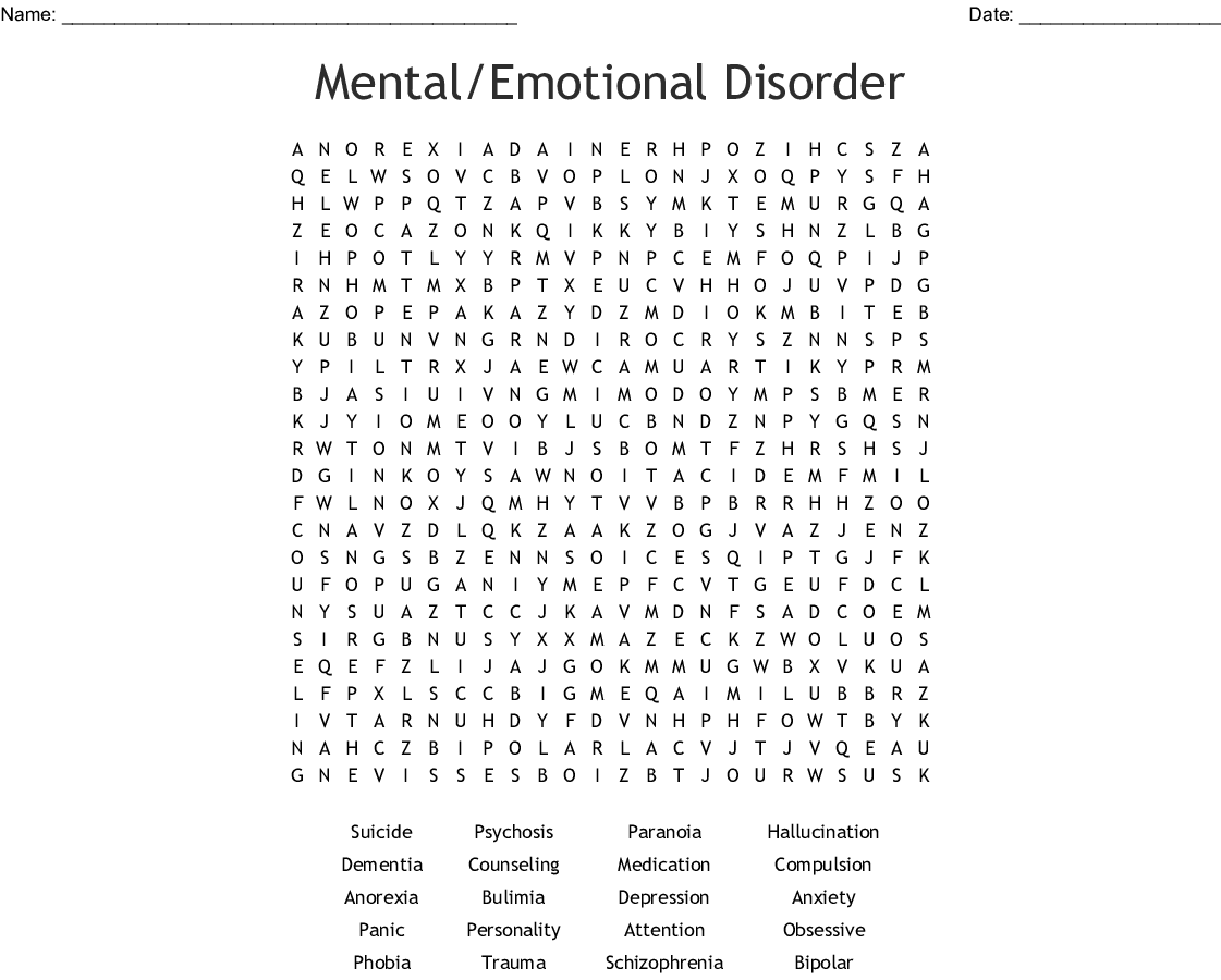 Mental Emotional Disorder Word Search