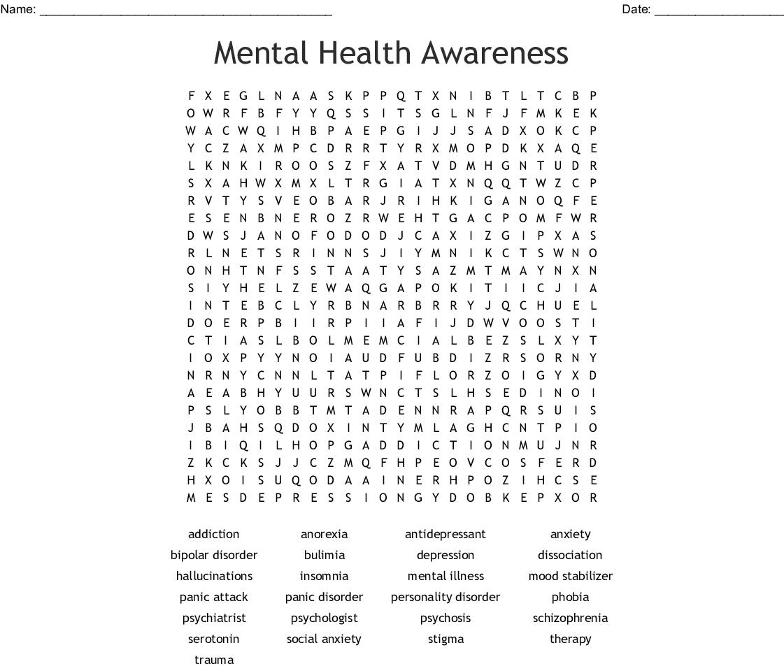 Schizophrenia Worksheet Printable