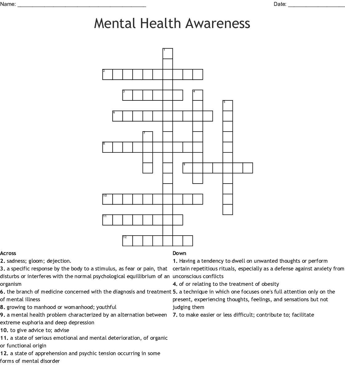 Mental Health Awareness Crossword