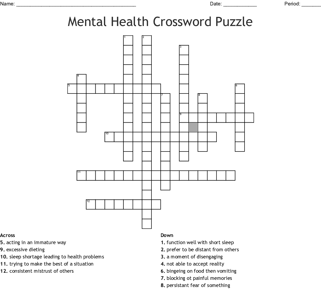 Worksheet For Adults With Mental Illness