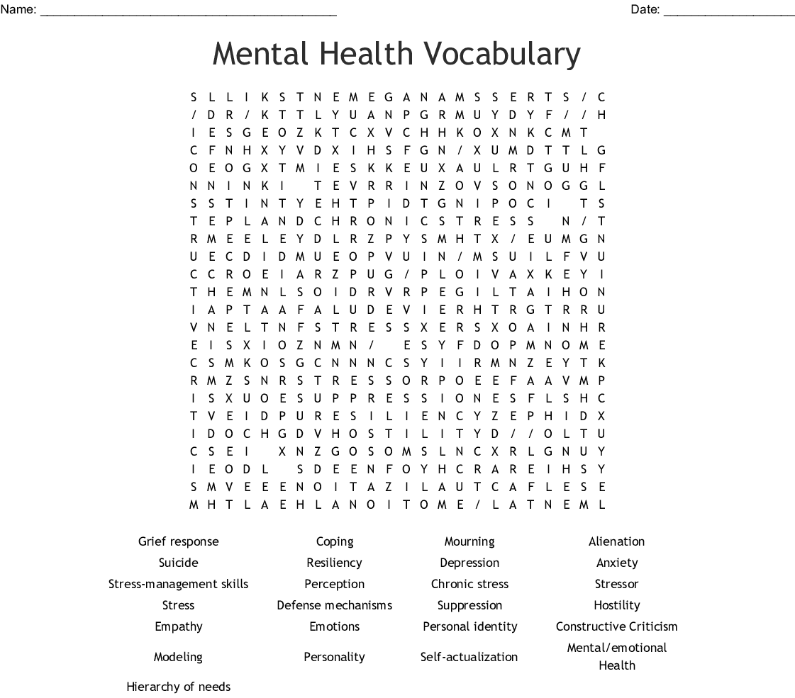 Mental Health Vocabulary Word Search