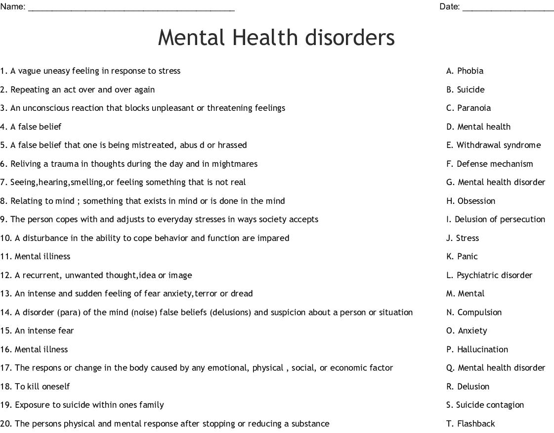 Mental Health Disorders Worksheet