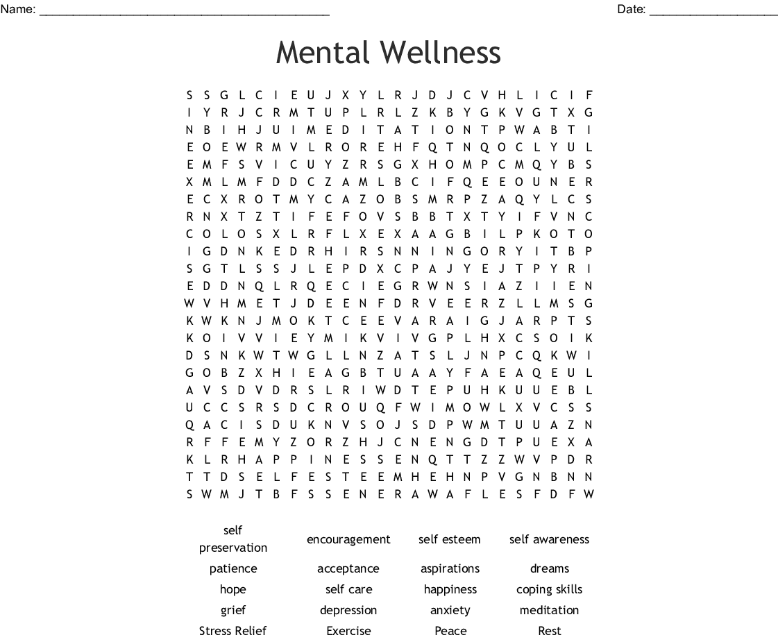 Mental Wellness Word Search
