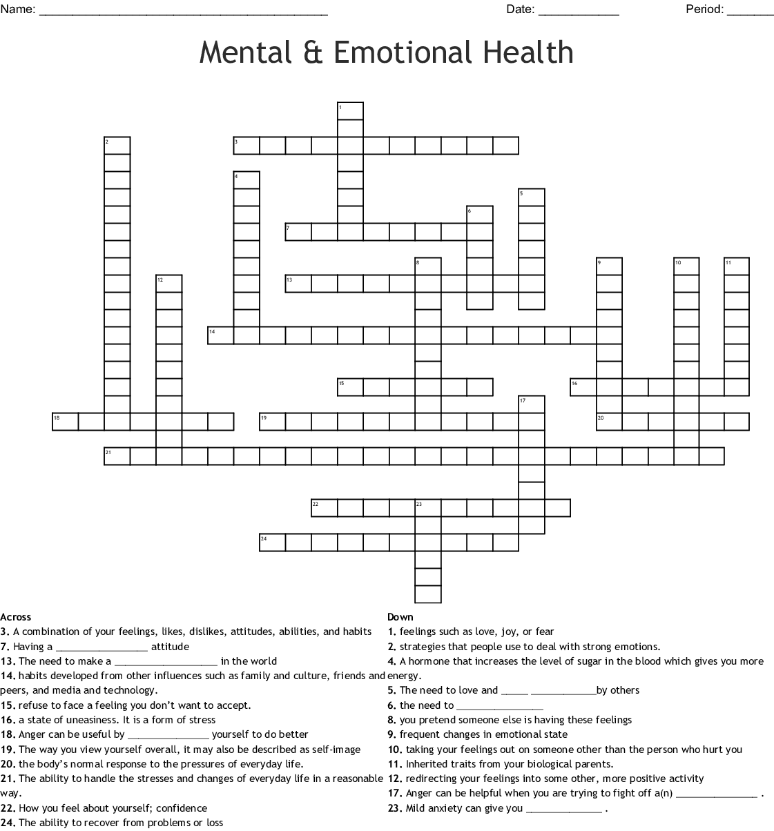 Self Esteem Crossword