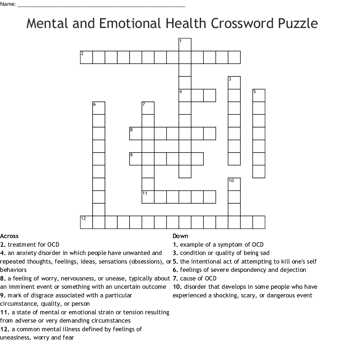 Mental And Emotional Health Crossword Puzzle