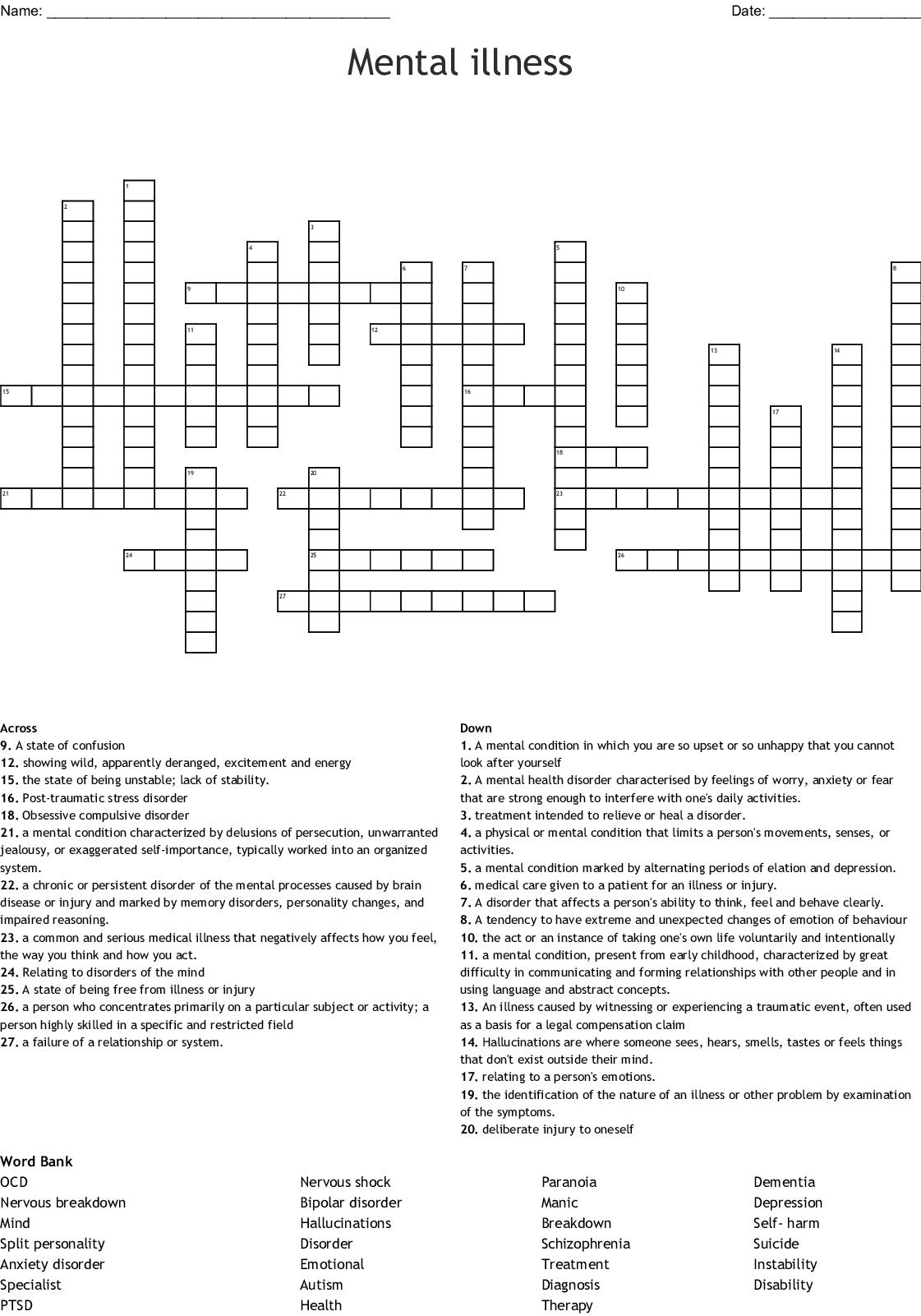 Mental Illness Crossword