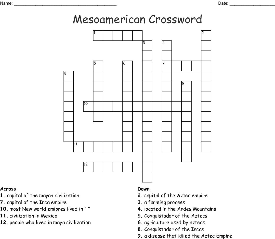 Mesoamerica Word Search