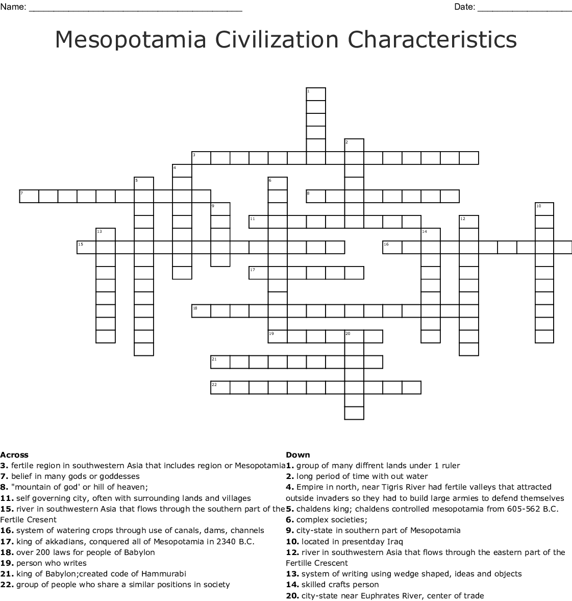 Mesopotamia The Cradle Of Civilization Worksheet Answers