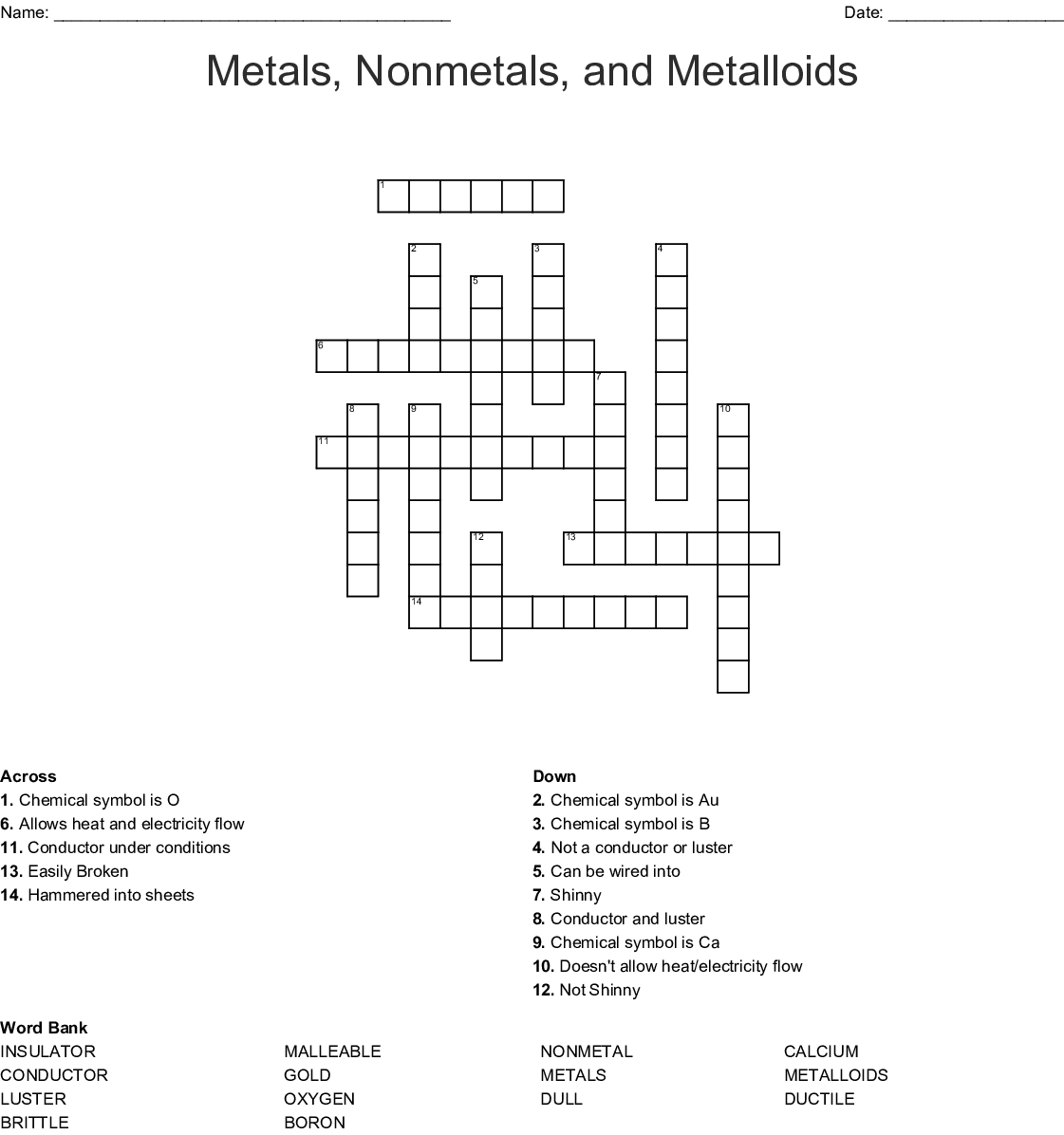 Metals Nonmetals And Metalloids Crossword
