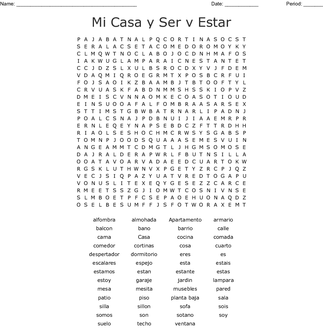 Ser Vs Estar Crossword