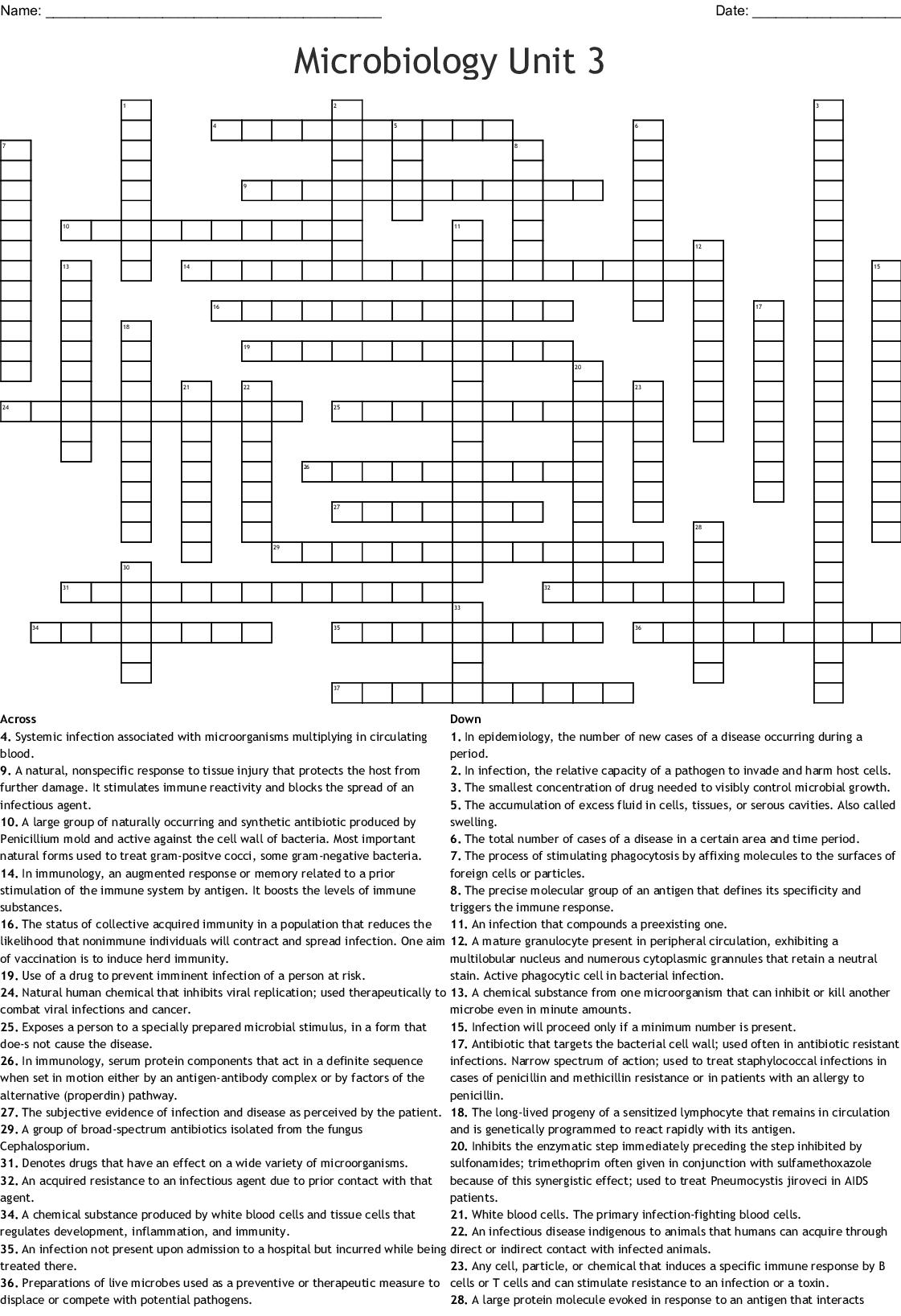 Microbiology Unit 3 Crossword