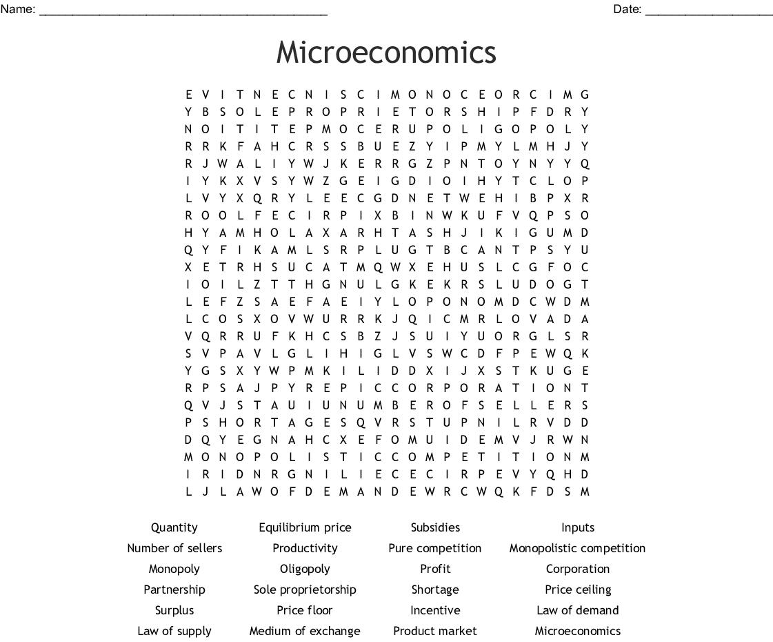 Economics Vocabulary Words Word Search