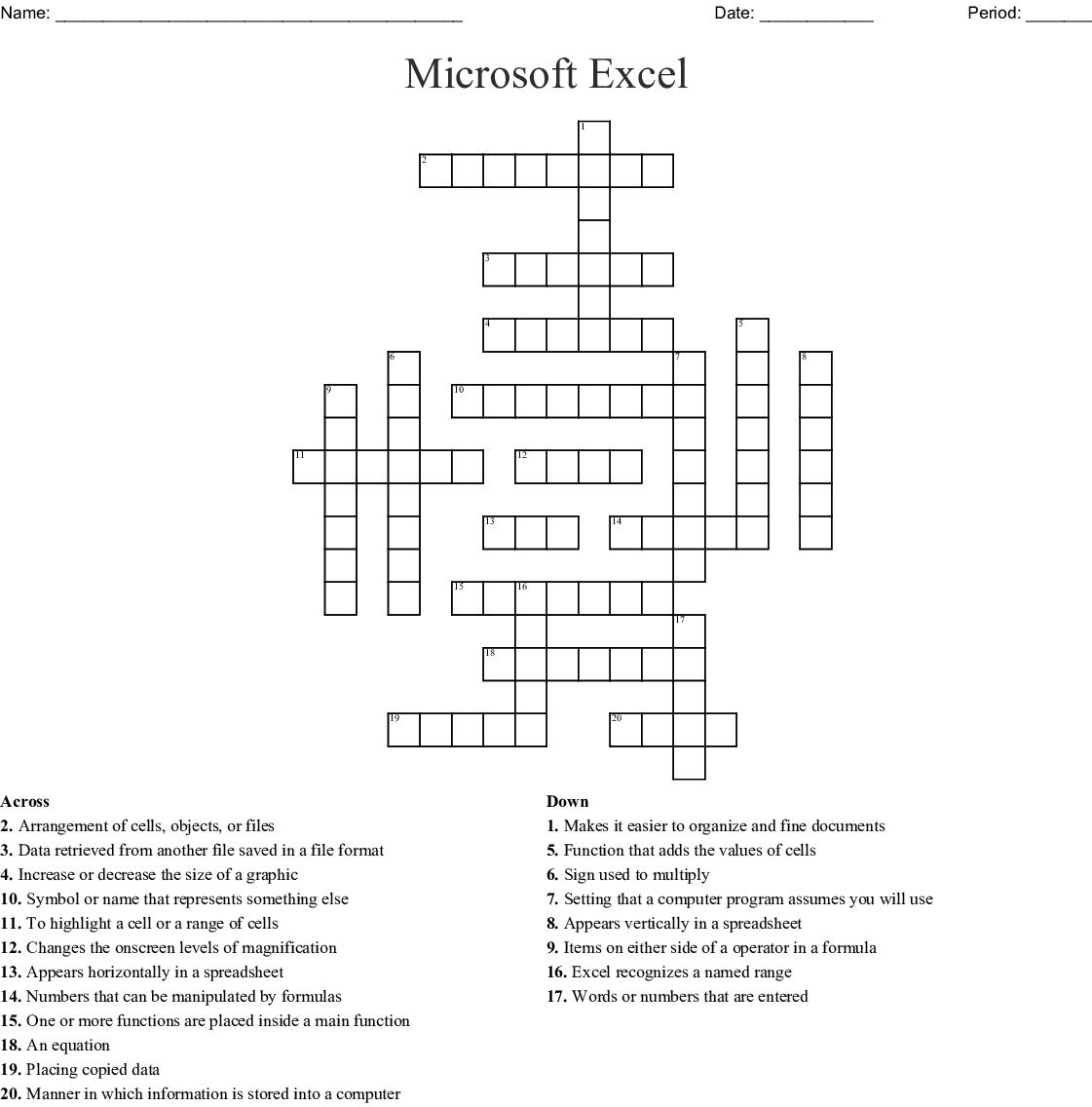 Microsoft Excel Crossword
