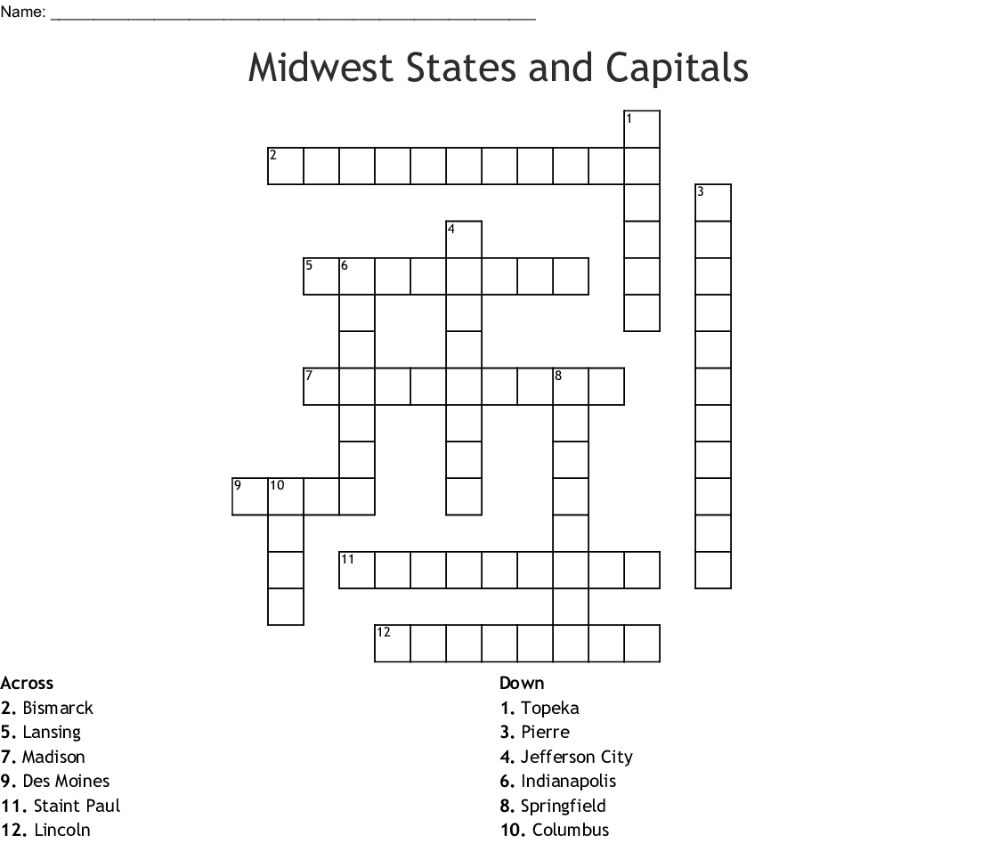 Printable Midwest States And Capitals Worksheet