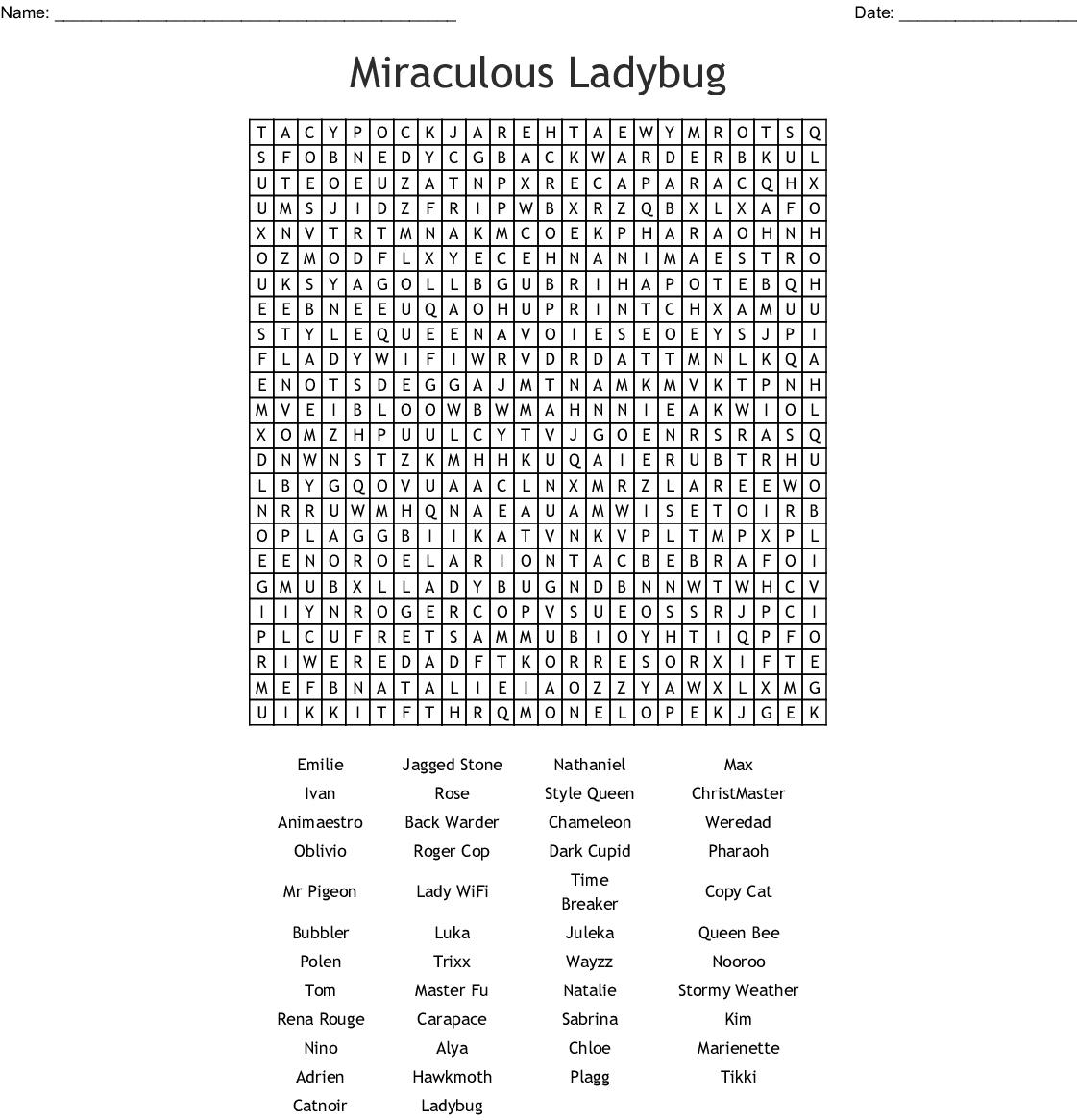 Miraculous Ladybug Word Search