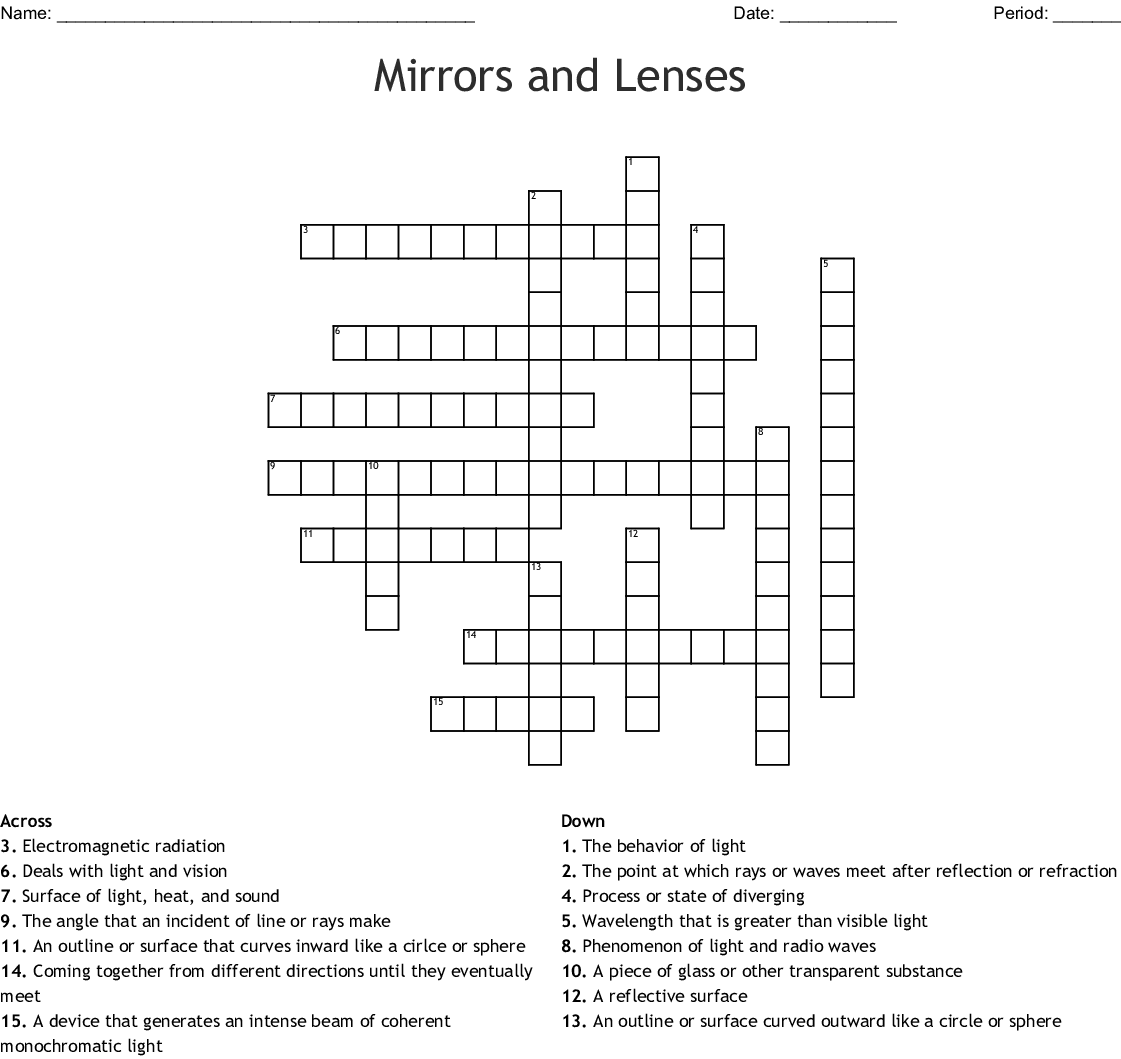 Mirrors And Lenses Crossword