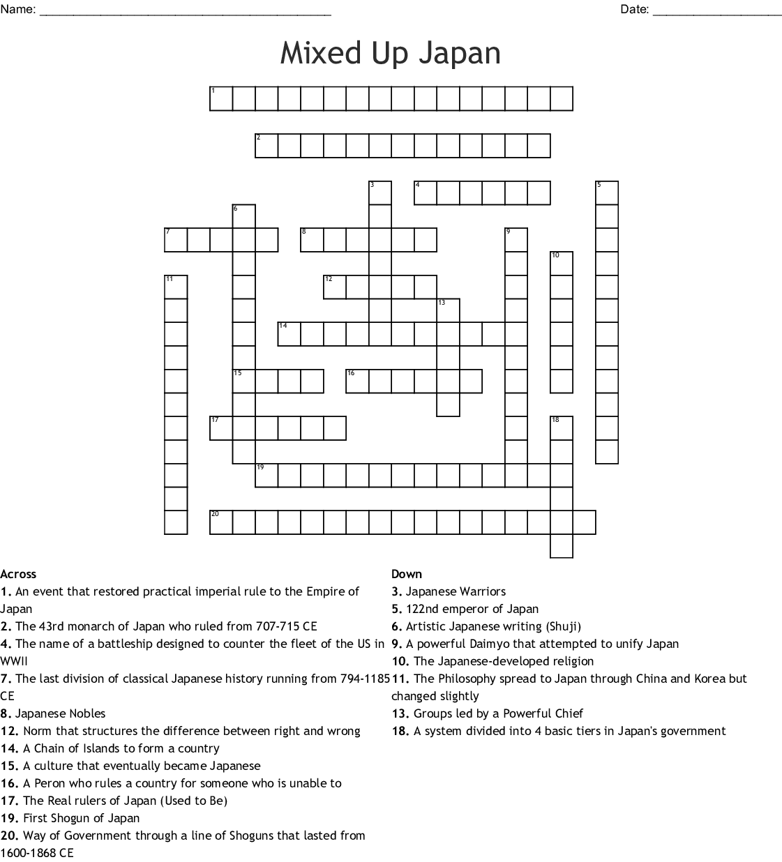Mixed Up Japan Crossword
