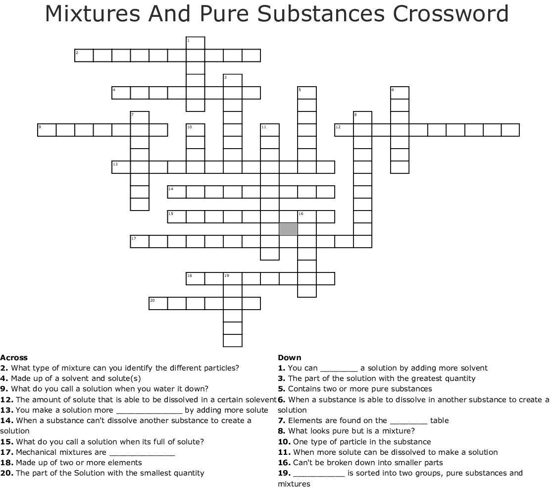 Mixtures And Pure Substances Crossword