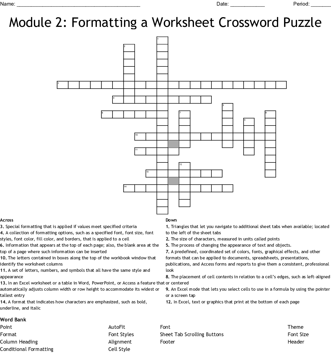 Module 2 Formatting A Worksheet Crossword Puzzle