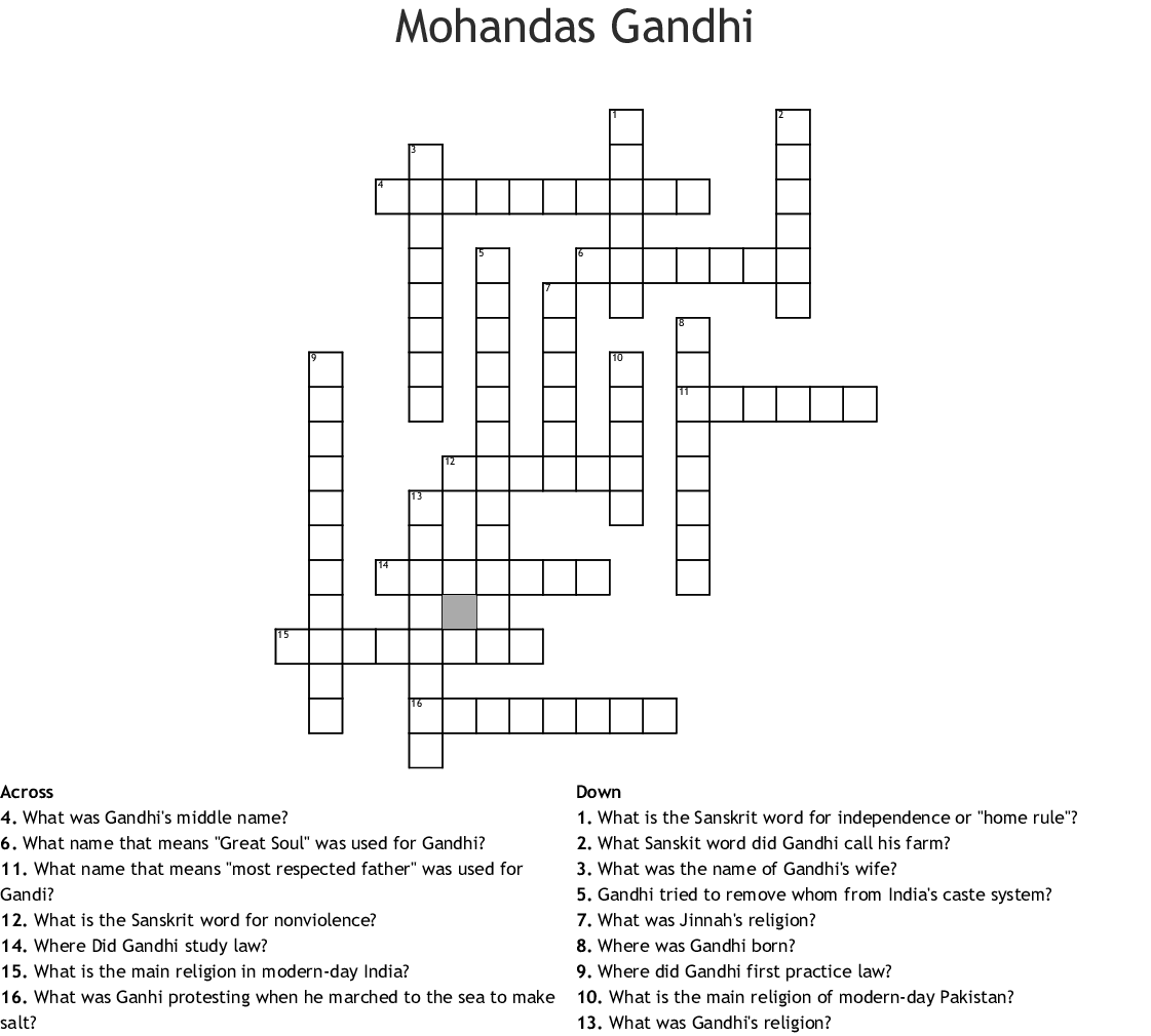 Mohandas Gandhi Crossword
